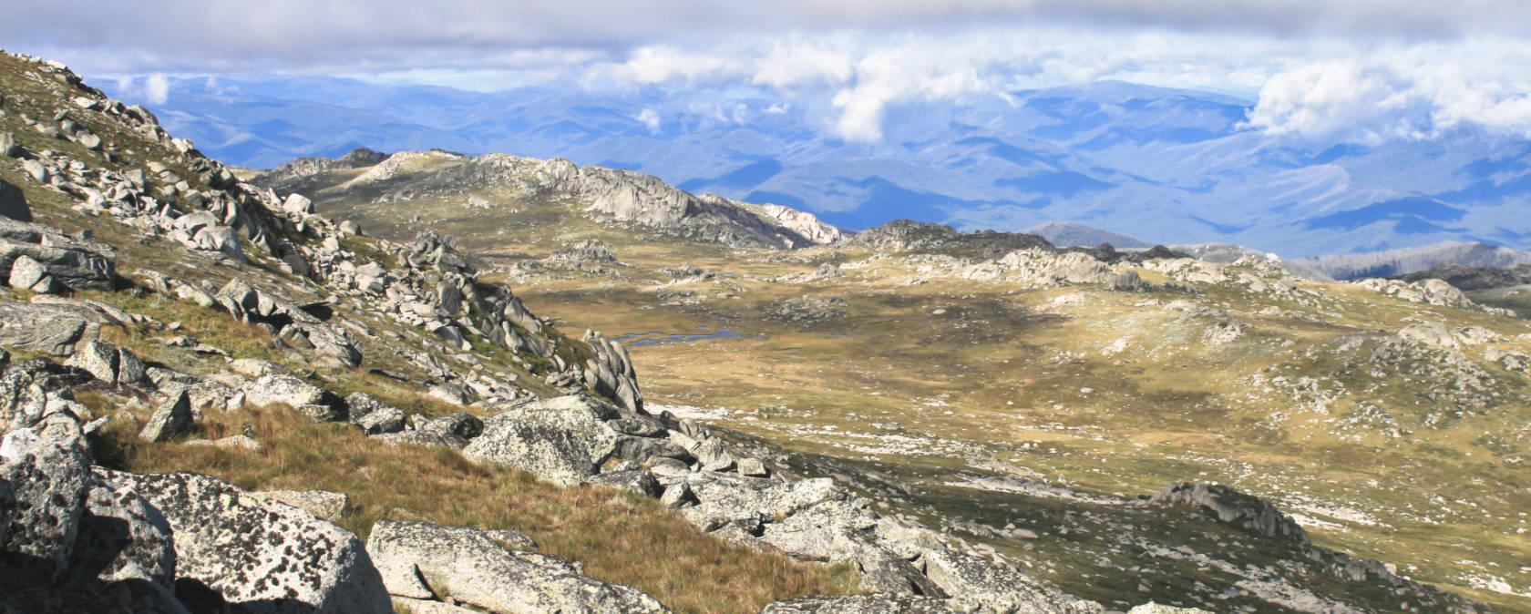 Rocky mountains under a blue sky