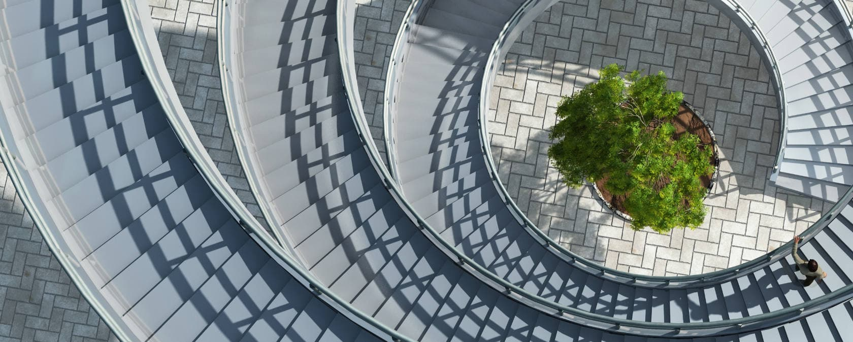 Bird's eye view of an outdoor spiral staircase surrounding a potted tree