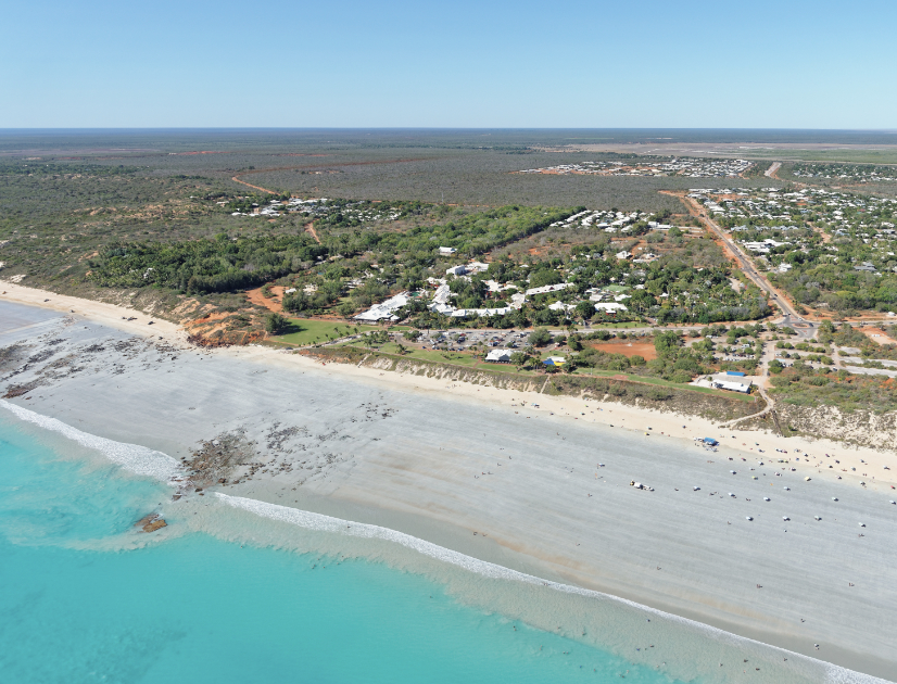 Aerial view of the Broome town beach