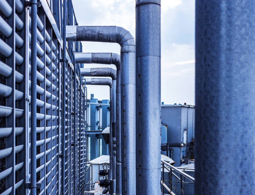 A series of blue pipes