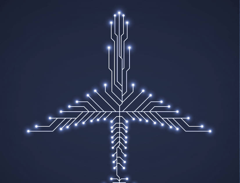Lit circuits in the shape of an aeroplane