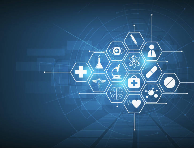 Healthcare icons arranged in a honeycomb pattern