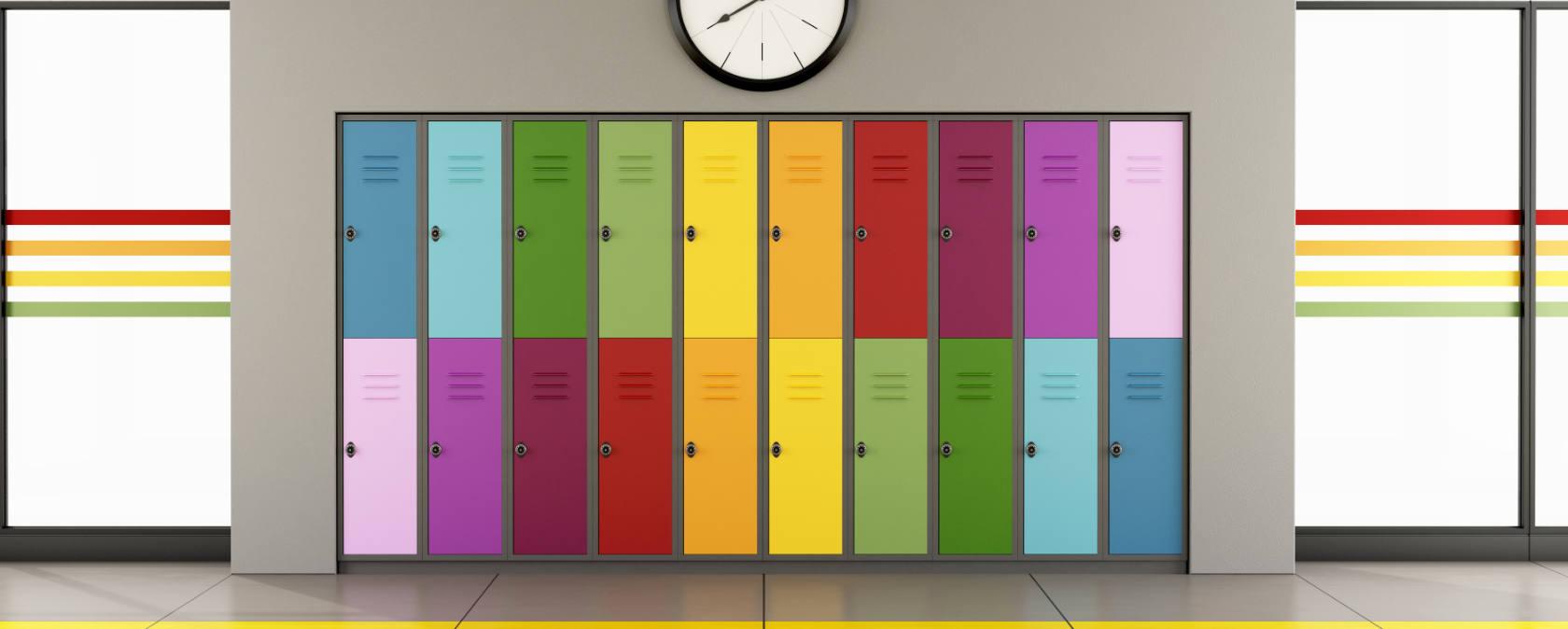 Colourful school lockers